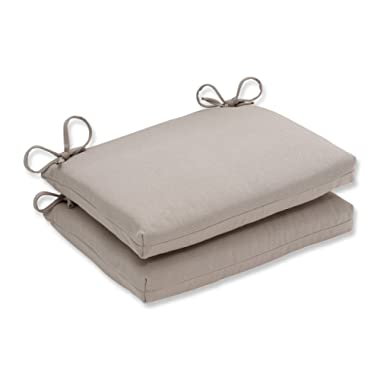 Pillow Perfect Indoor/Outdoor Beige Solid Seat Cushion, Squared, 2-Pack