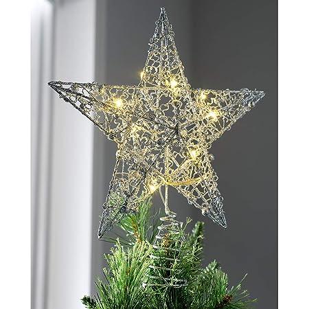 WeRChristmas Pre-lit Snowflake Sprinky Christmas Tree Top Star LED Lights 31cm Gold