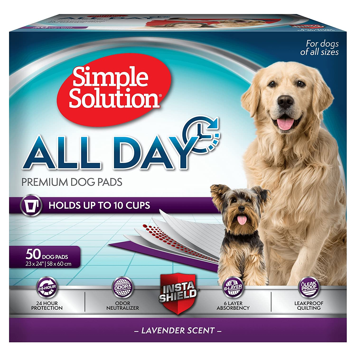 58x61cm 50 Pack Simple Solution All Day Premium Dog Pads, 58 X 61Cm, 50Pk