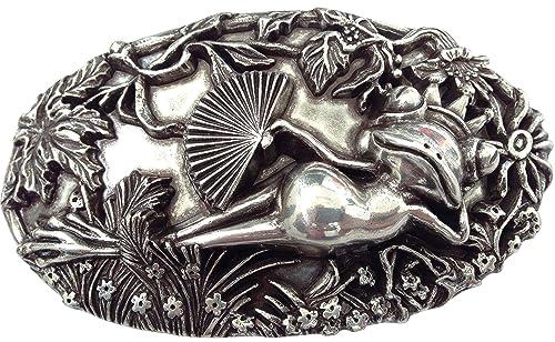CENO - Hebilla de cinturón - para mujer Plateado plata Medium