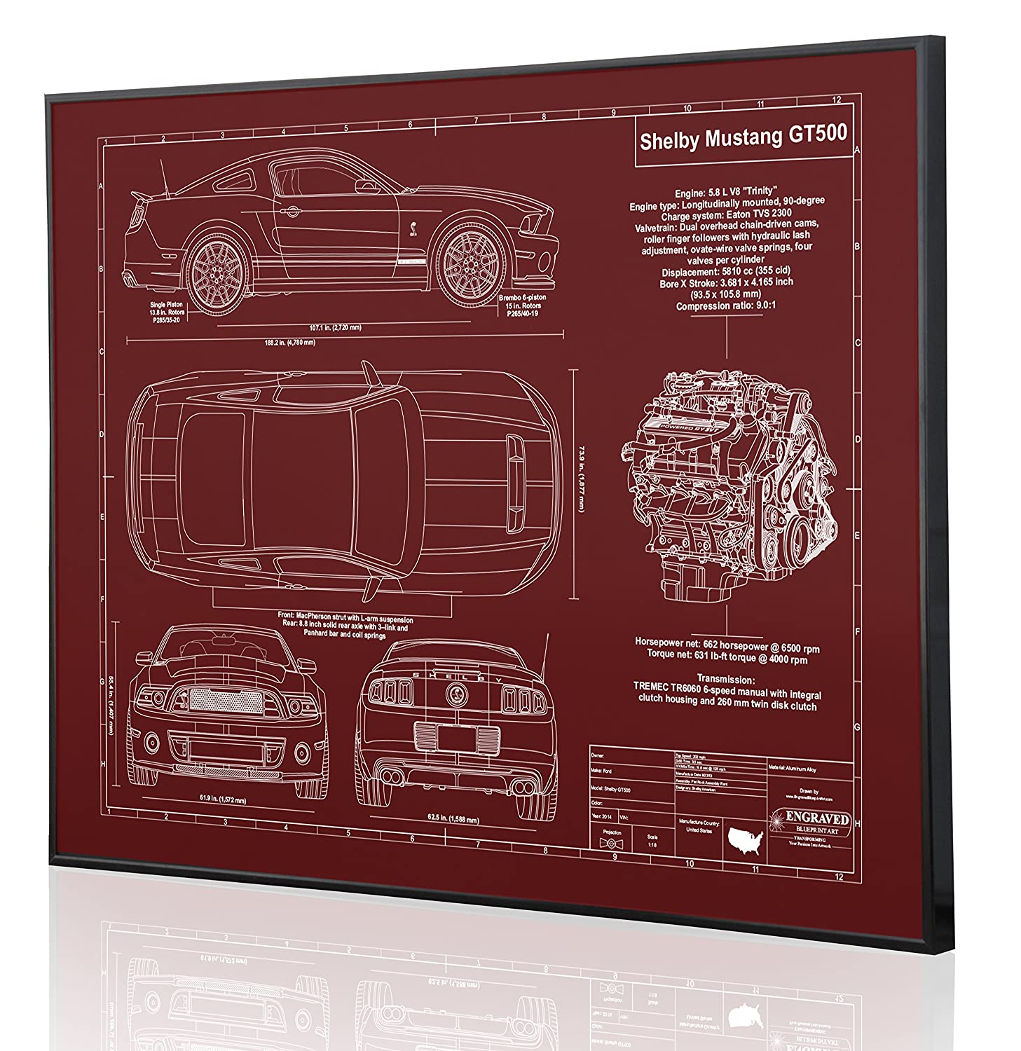 Amazon com shelby mustang gt500 2014 blueprint artwork laser marked personalized the perfect ford gifts handmade