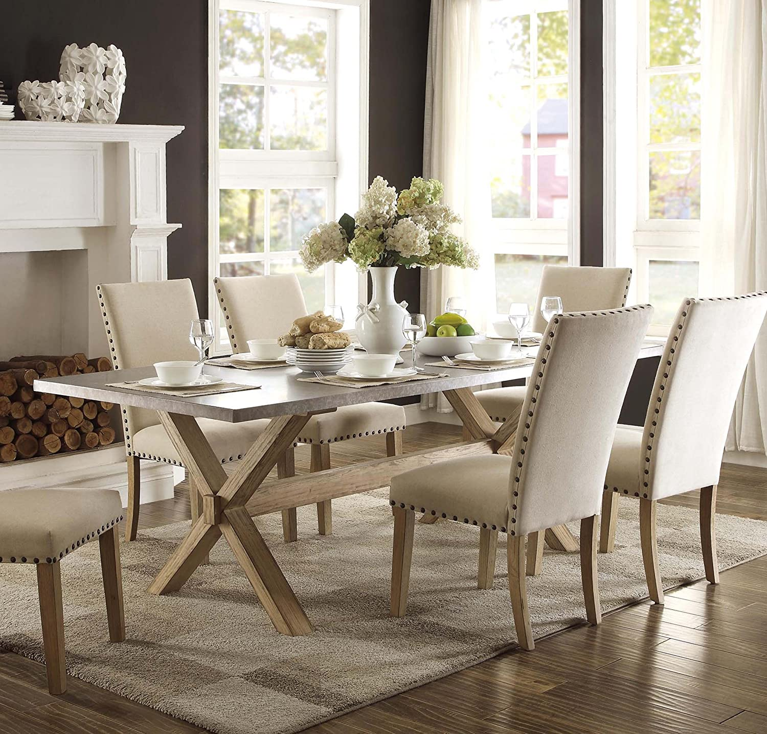 Amazon Homelegance Luella 84 Inch Dining Table with Natural
