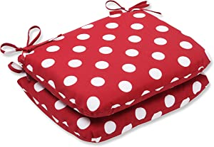 "Pillow Perfect Outdoor/Indoor Polka Dot Round Corner Seat Cushions, 18.5"" x 15.5"", Red, 2 Pack"