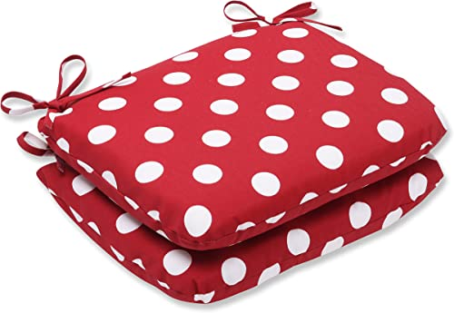 Pillow Perfect Outdoor Indoor Polka Dot Round Corner Seat Cushions, 18.5 x 15.5 , Red, 2 Pack