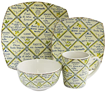 Waverly 16-Piece Piastrelle Dinnerware Set  sc 1 st  Amazon.com & Amazon.com | Waverly 16-Piece Piastrelle Dinnerware Set: Square ...