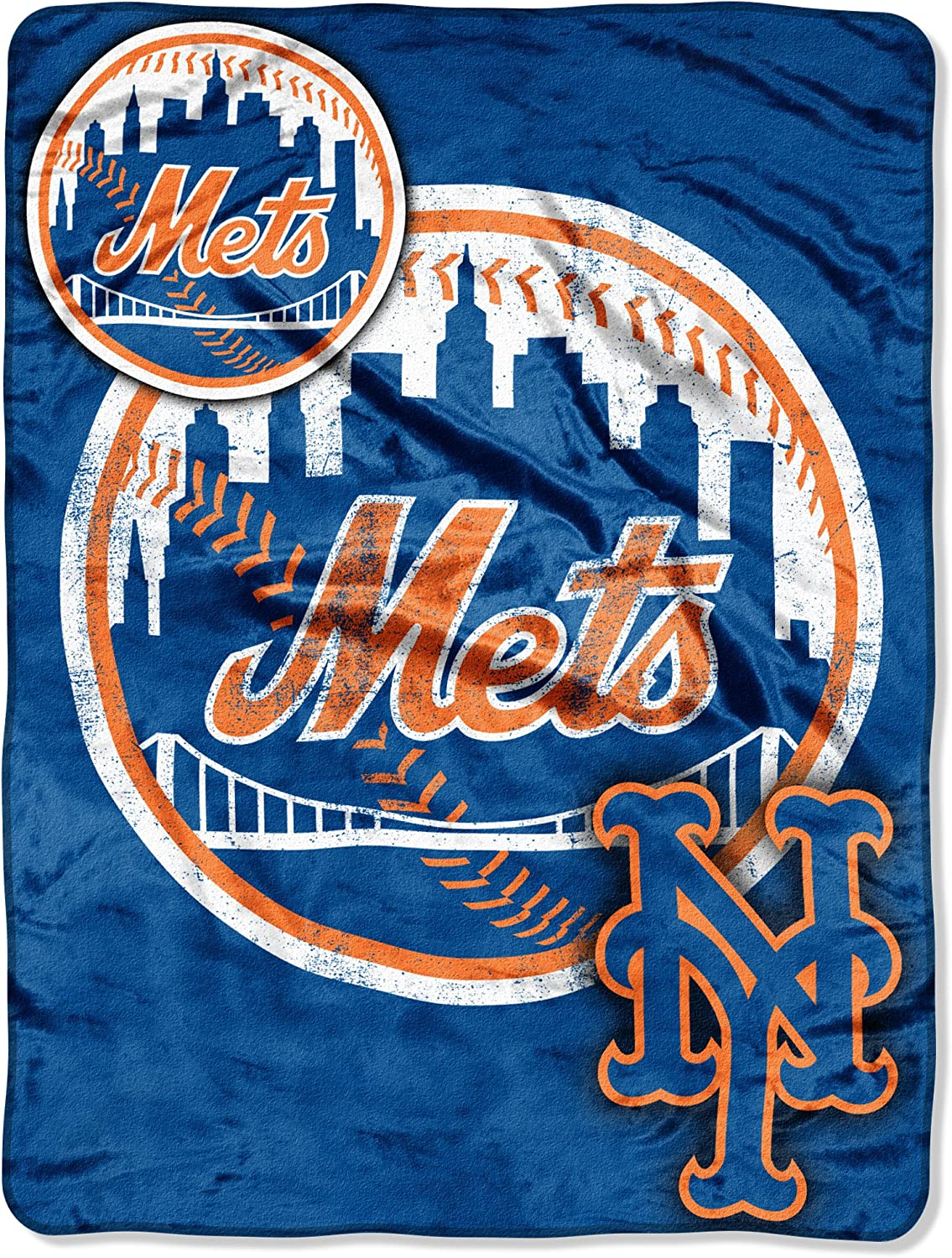 "MLB New York Mets ""Triple Play"" Micro Raschel Throw Blanket, 46"" x 60"" : Sports Fan Throw Blankets : Sports & Outdoors"