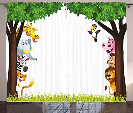 nursery curtains by ambesonne big trees and friendly