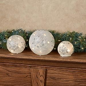 Melrose International White and Silver LED Snowflake Globes, Set of Three