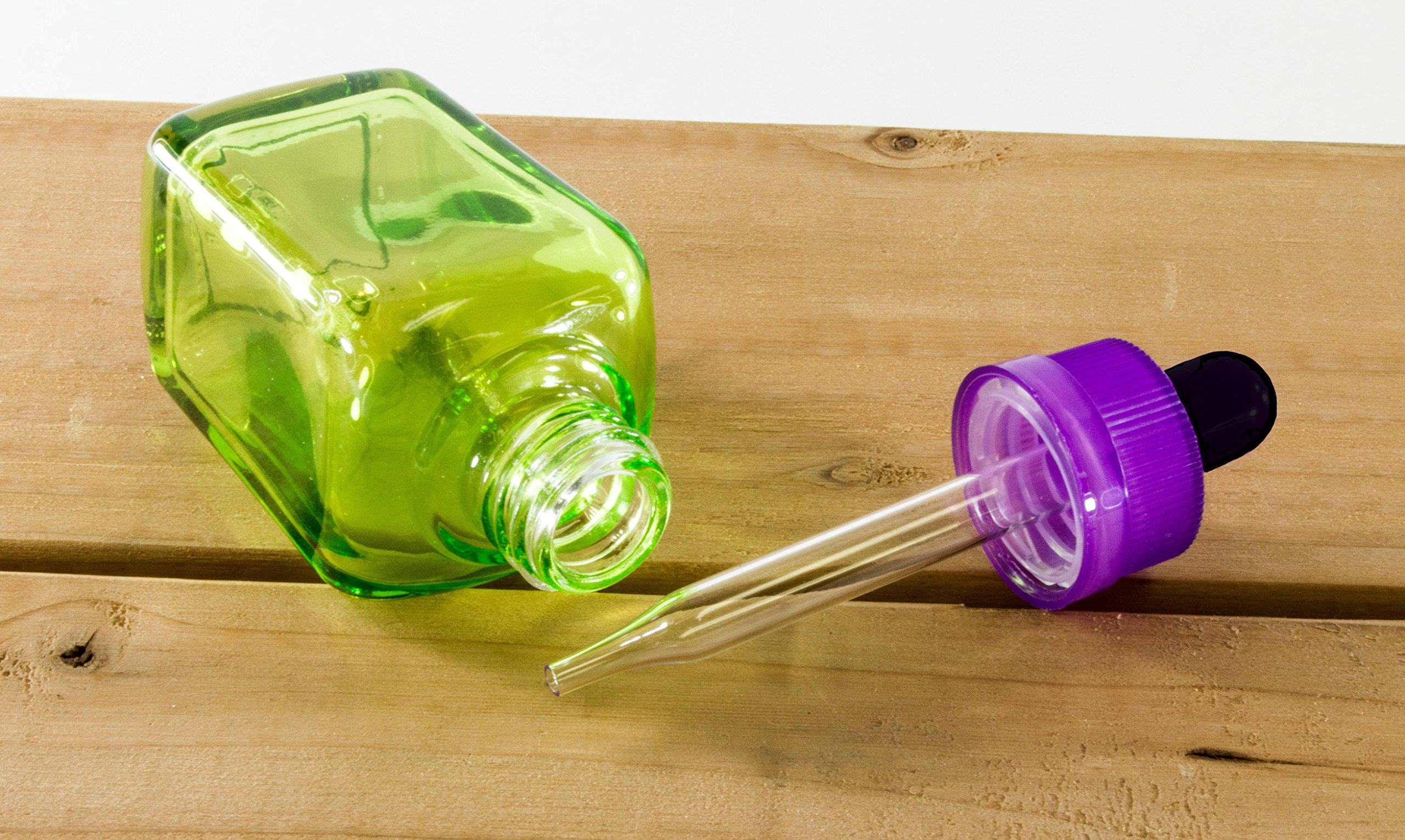 30ml Clear Green Glass Dropper Bottles with Purple and Black Tops (Pack of 10) by Science Purchase
