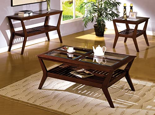 Furniture of America Vedison Transitional Glass-Top End Table, Dark Cherry