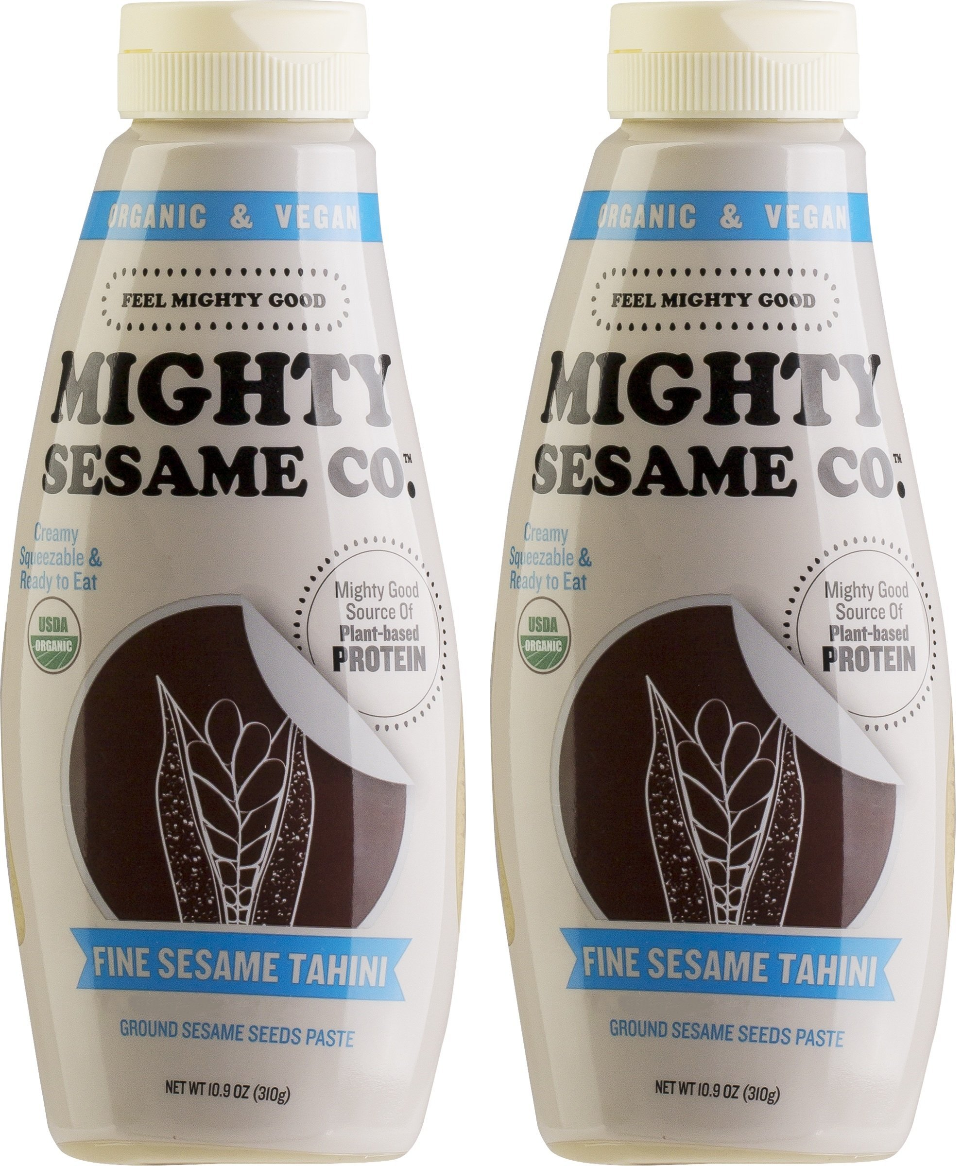 Mighty Sesame, Organic, Fine Sesame Tahini, 10.9oz, Squeezable Bottle, Gluten Free, Ready to use! (2 Pack)