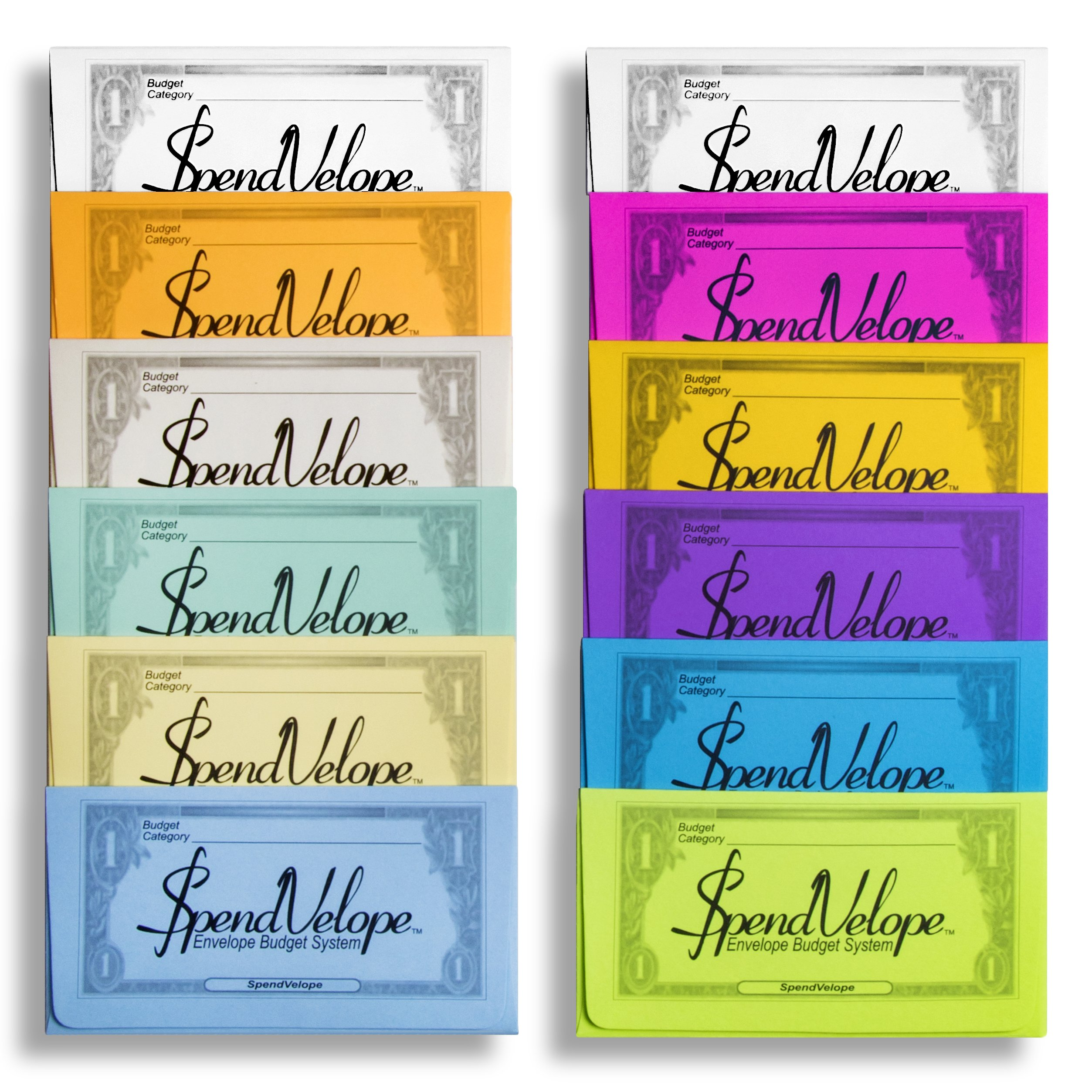 SpendVelope Envelope Budget System – Rainbow Colored – 12 Pack