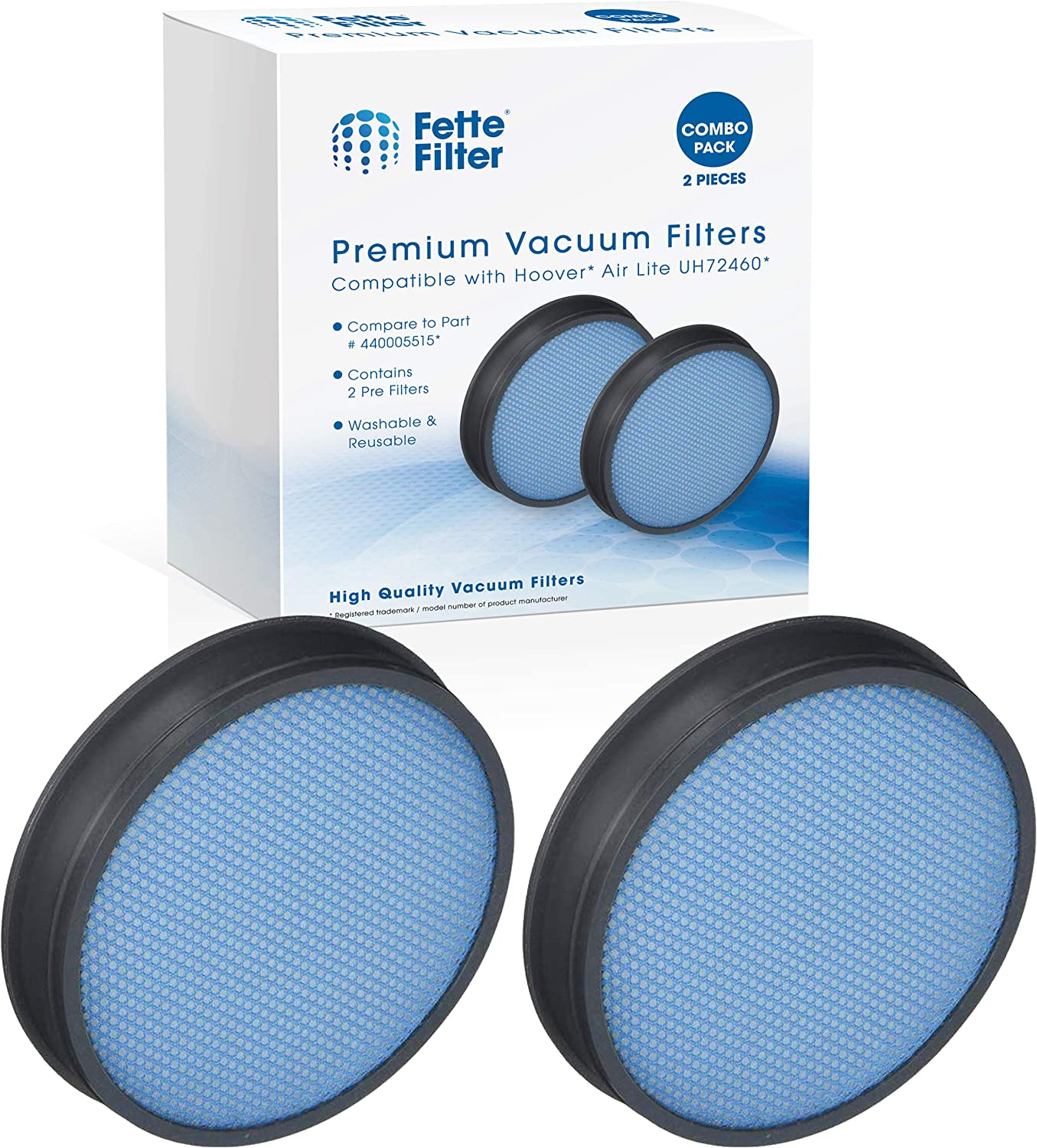 Fette FilterNEW Vacuum Filter Compatible with Hoover. Compare to Part #440005515. Pack of 2