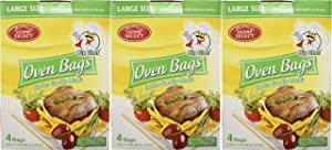 Set of 12 Big Chef Large Size Oven Bags! For Meats, Fish, and Vegetables Up to 8 Pounds! Makes Food Juicer and Tastier! No More Messy Clean-Ups! (12)
