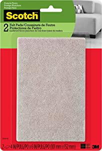 Scotch Felt Pads, Rectangle, Beige, 4 in. x 6 in., 2 Pads/Pack (SP800-NA)