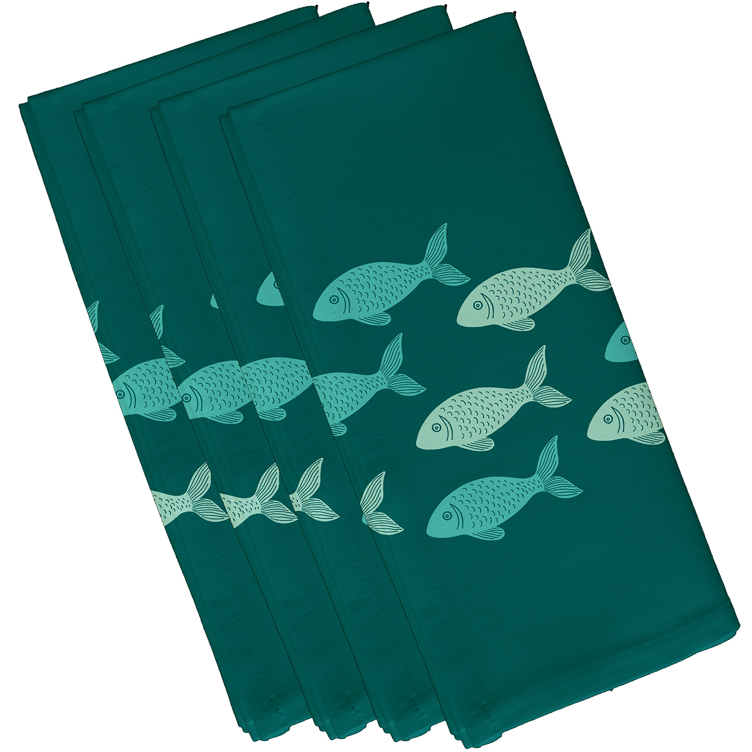 E by design Fish Line, Animal Print Napkin, 19 x 19'', Teal