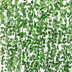 COCOBOO 18 PCS 130 FT Fake Vines Ivy Foliage Flowers for Home Decor Kitchen Wall Bedroom Garden Wedding Party Silk Greenery Garland Fake Plants Artificial Ivy Leaves Green Vines Hanging Garland