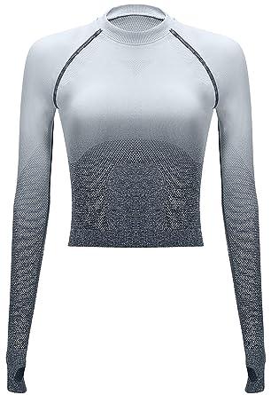 a57f608e4cb5e7 RUNNING GIRL Ombre Seamless Crop Top Long Sleeve Layer Crew Neck Power  Stretch Gym Yoga Crop