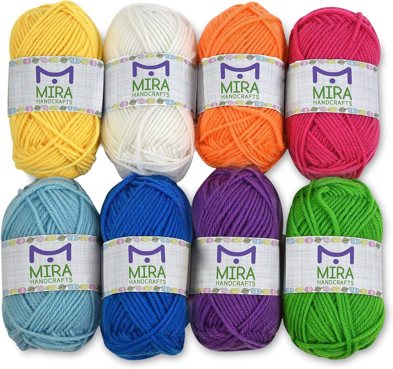 Amazon Com Mira Handcrafts 8 Acrylic Yarn Skeins Total Of 525 Yards Craft Yarn Includes 2 Crochet Hooks 2 Weaving Needles 7 E Books Dk Yarn For Knitting And Crochet Perfect Beginner Kit