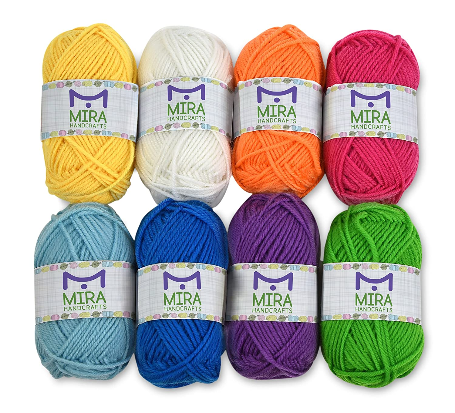 Premium Yarn Pack - 8 Acrylic Rainbow Color Yarn Skeins - Excellent for Small and Kids Yarn Projects, Crafts, Knitting, Crochet and Much More - 10 Gifts with Each Pack - Resealable Bag MiraGoods BCAC24392