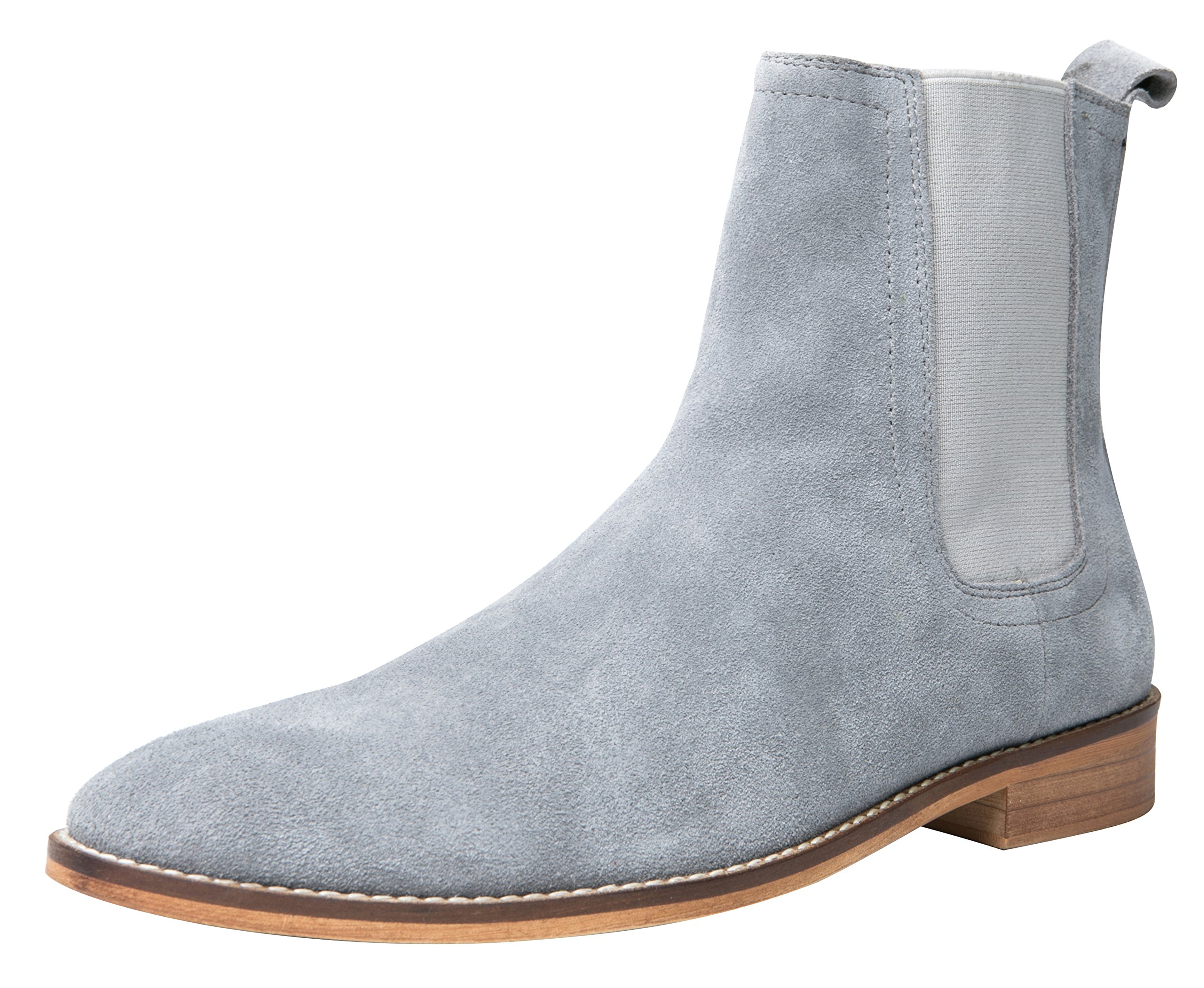 Santimon Chelsea Boots Men Suede Casual Dress Boots Ankle Boots Formal Shoes by Black Brown Grey Grey 11 D(M) US