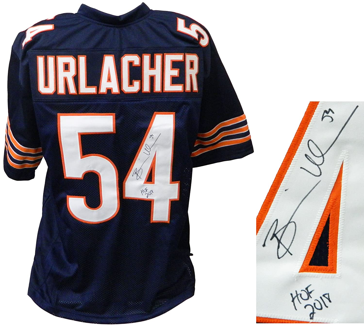 newest bebf6 5f65e Brian Urlacher Signed Navy Custom Football Jersey w/HOF 2018 ...