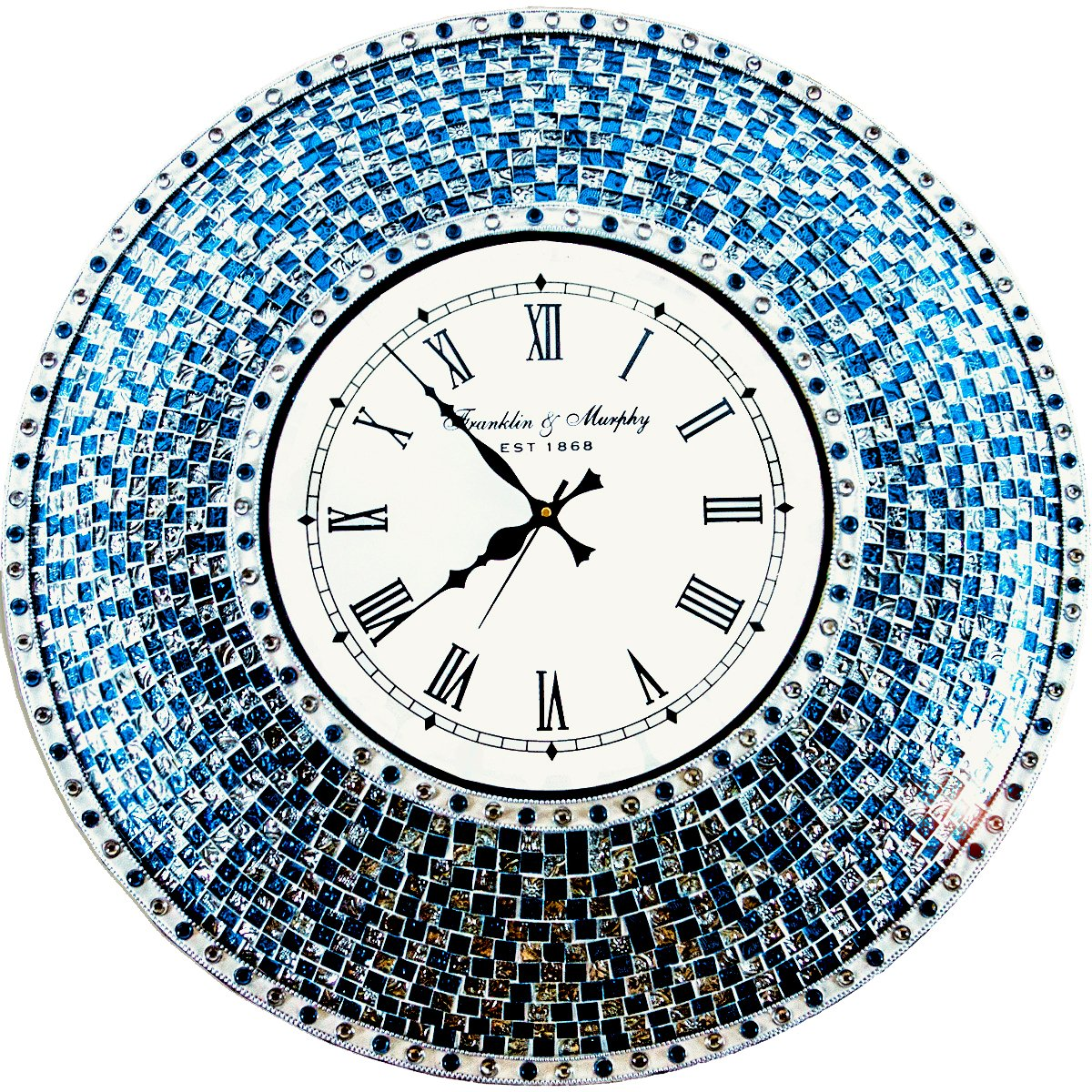"""DecorShore 22.5"""" Silver/Turquoise Mosaic Wall Clock, Decorative Round Wall Clock"""