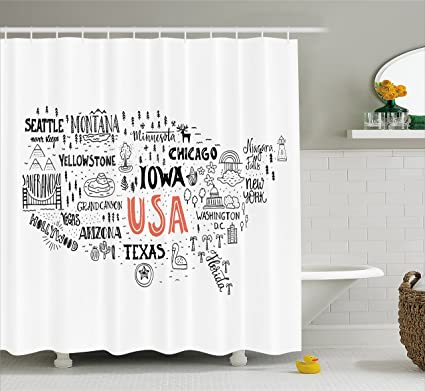 Amazon Ambesonne USA Map Shower Curtain By United States Of