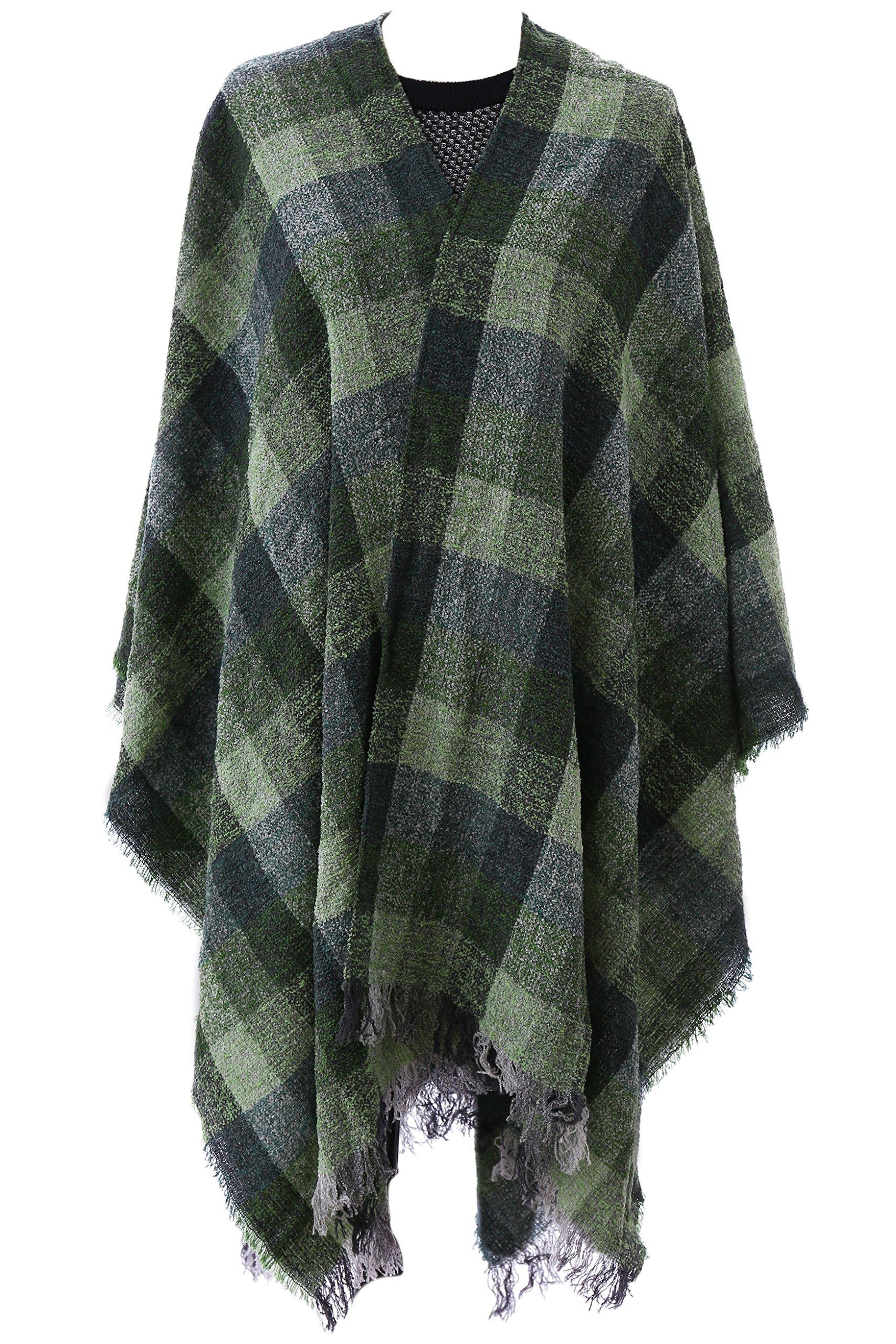 "Biddy Murphy Ruana Wool Checkered Green 54"" x 72"" Made in Ireland"