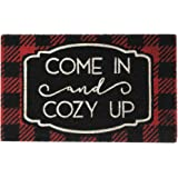 """Elrene Home Fashions Farmhouse Living Come in and Cozy Up Winter Holiday Coir Doormat for Entryway/Front Door/Porch, 18""""x30"""""""