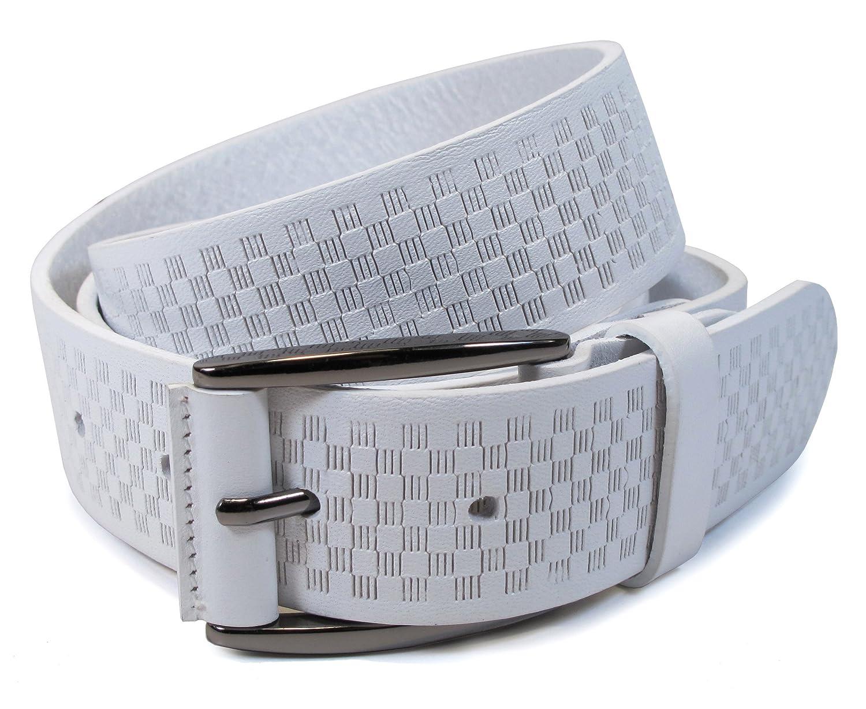 """(CM1-114) Hombre Cinturón Blanco 100% Cuero Real 28,30,32,34,36,38,40,42pulgadas Ancho 1,25"""" Cuero italiano"""