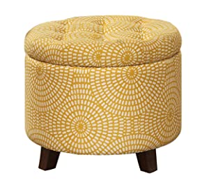 "Homelegance Cleo 20"" Round Geometric Print Fabric Storage Accent Ottoman, Yellow"