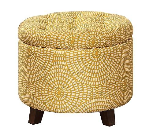 Homelegance Cleo 20 Round Geometric Print Fabric Storage Accent Ottoman, Yellow