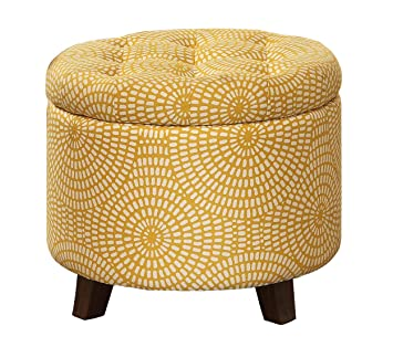 Homelegance Cleo Round Storage Accent Ottoman With Button Tufted Geometric  Design, Yellow