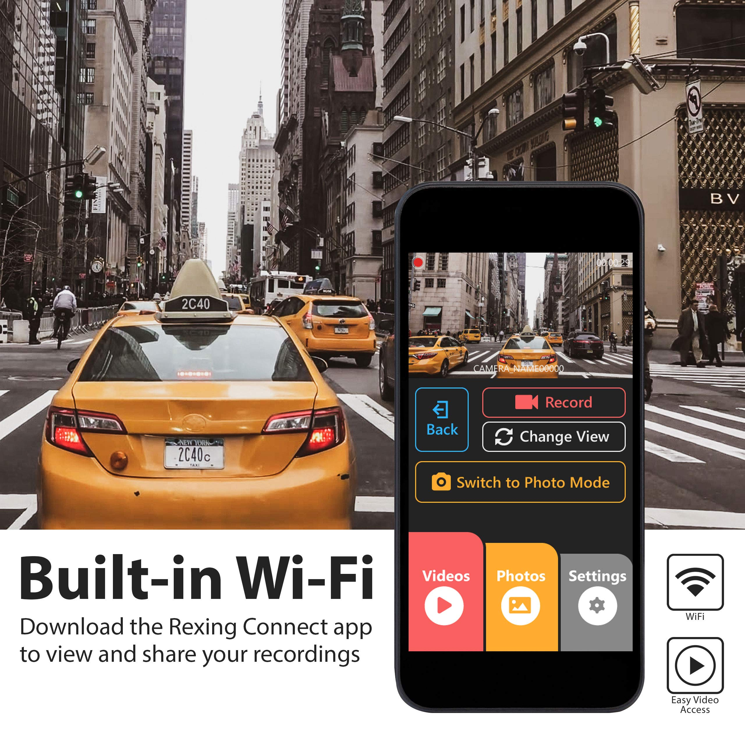 Rexing V1P 3rd Generation Dual 1080p Full HD Front and Rear 170 Degree Wide Angle Wi-Fi Car Dash Cam with Supercapacitor, 2.4'' LCD Screen, G-Sensor, Loop Recording, Mobile App by REXING (Image #5)