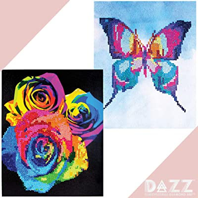 "Dazz 3D Gemstone Painting Butterfly & Roses Pack of 2 by Horizon Group USA, Includes 2 8""X10"" Diamond Dotz Painting, Rhinestone Sheets for Adults & Children, Gem Tray & Stylus Included.Multicolored: Toys & Games"