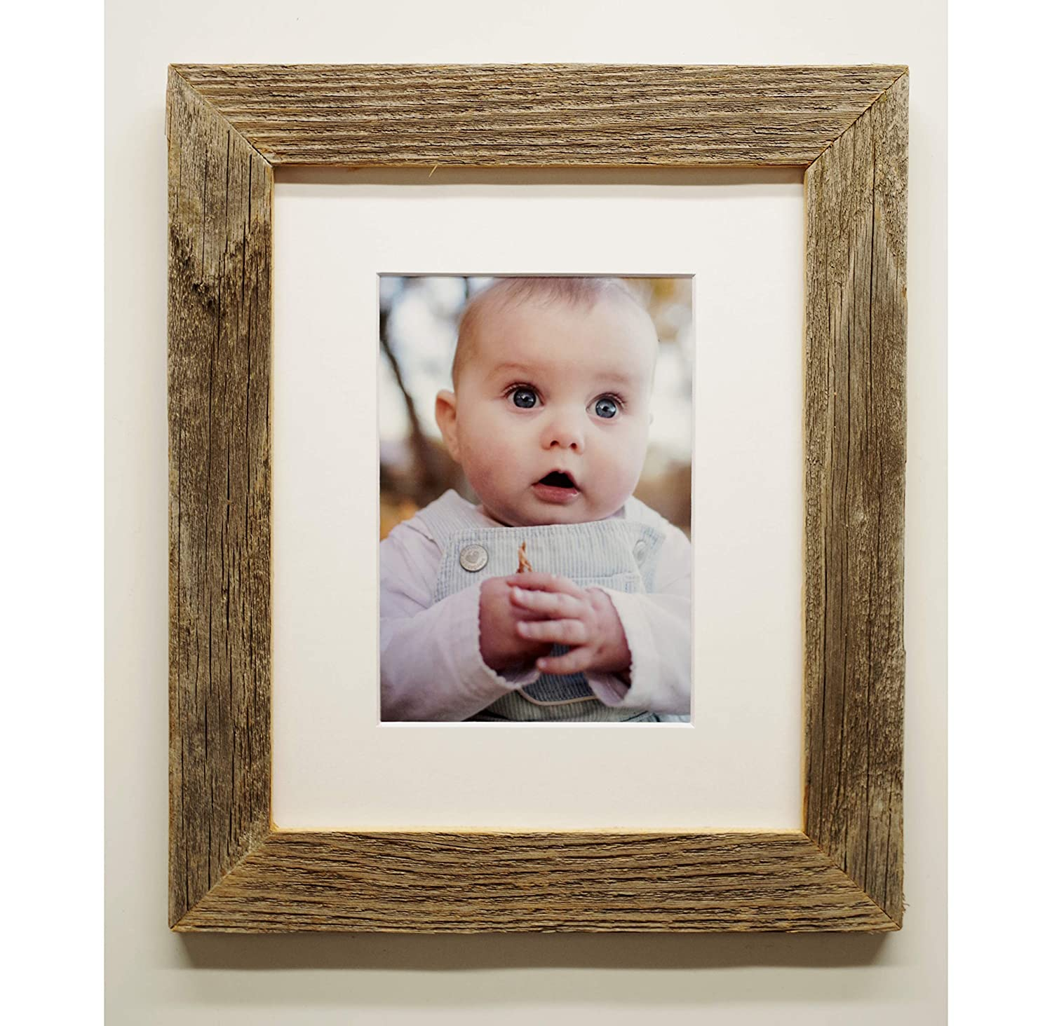 8X10 Barnwood Picture Frame- Narrow (1.5 Inch) Rustic Barn Wood Frames, Reclaimed Wooden Photo Frames, Naturally Aged Old Weathered Wood Frames.