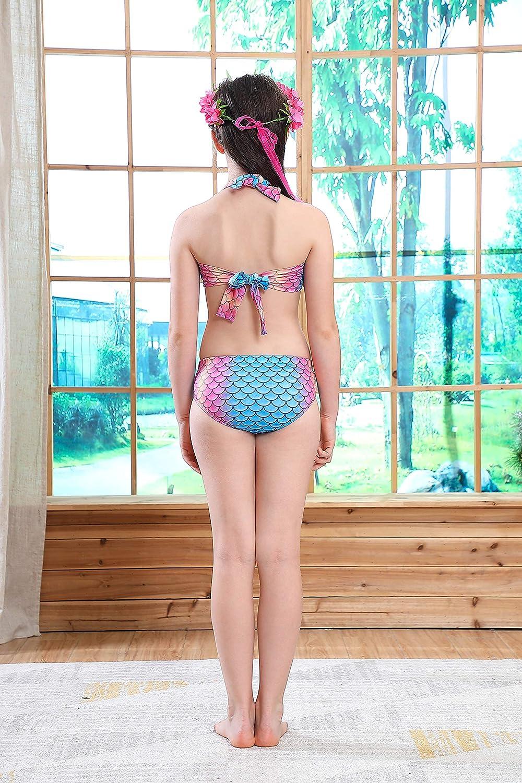 DecStore Costume Stabilito del Bikini dello Swimwear della Coda della Sirena del Costume da Bagno delle 3PCS delle Ragazze per Nuoto Sky Blue+Pink 140