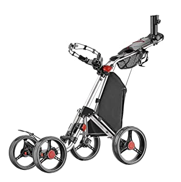 CADDYTEK Superlite Quad V2 de 4 ruedas Push de golf Plata: Amazon.es: Deportes y aire libre