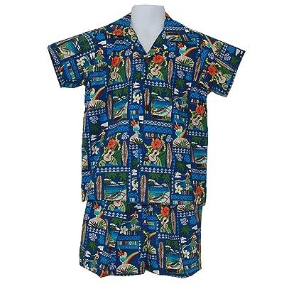 Alohawears Clothing Company Made In Hawaii ! Boy's Music Festival Hawaiian Aloha Cabana Shirt Set