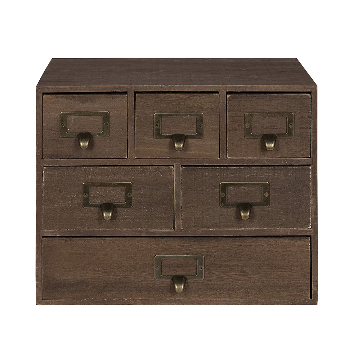 Kate and Laurel Apothecary Wood Desk Drawer Set with Letter Holder, 6 Drawers, Rustic Brown