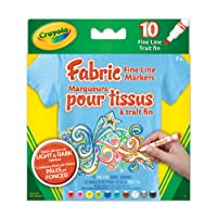 Crayola Fabric Fine Line Markers, School and Craft Supplies, Drawing Gift for Boys and Girls, Kids, Teens Ages  5, 6,7, 8 and Up, Holiday Toys, Stocking Stuffers, Arts and Crafts