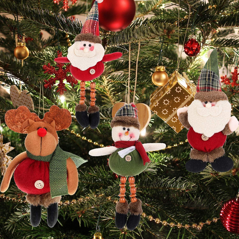 heekpek Albero di Natale Decorazione Ornamenti Ciondolo Danza Babbo Natale Pupazzo di Neve Alce Orso Plaid Ciondolo in Tessuto Ciondolo Albero di Natale Decorazione Natalizia