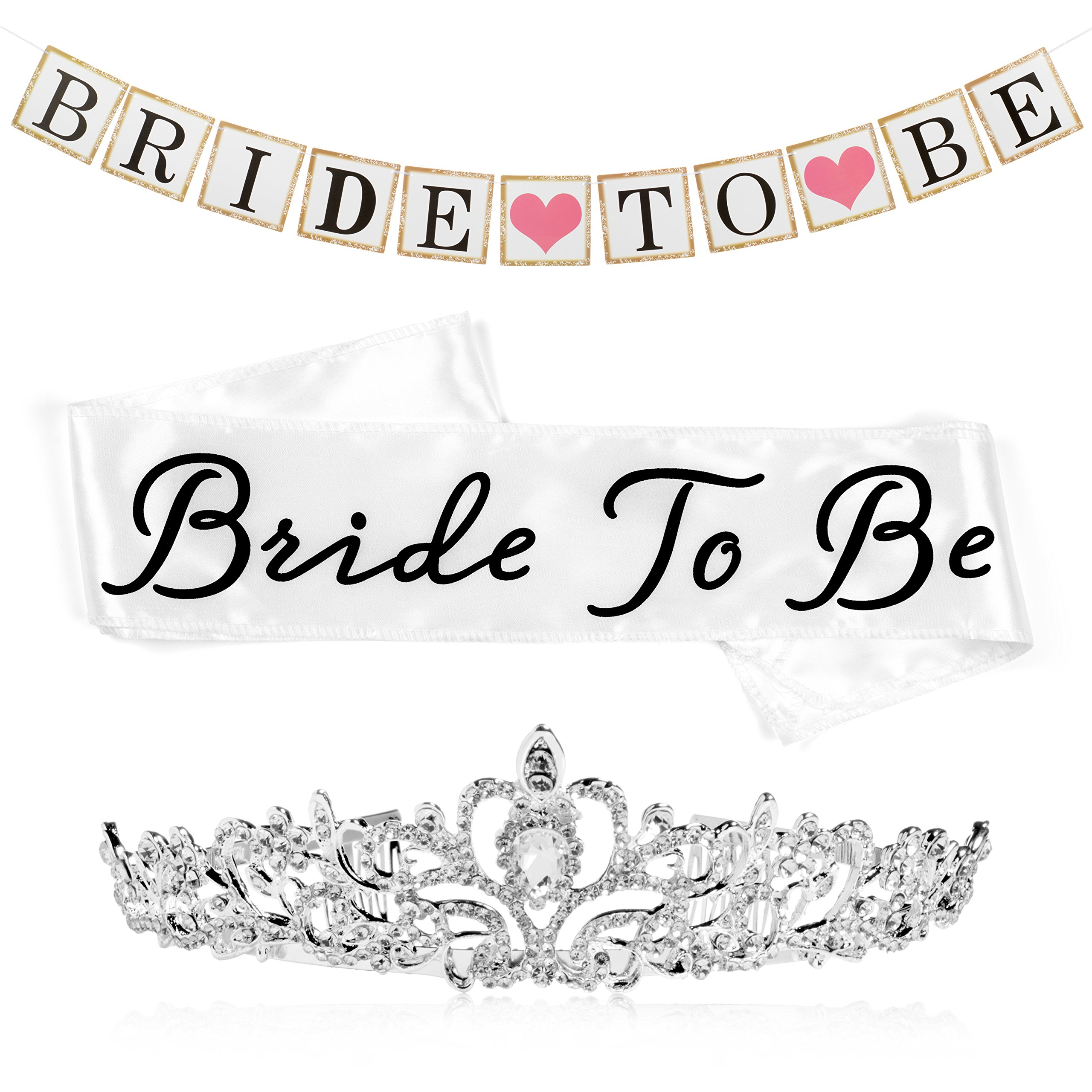 Bride to Be Bachelorette Party Decoration and Shower Kit, White Satin Sash, Metal and Rhinestone Tiara, and Bride To Be Banner with Ribbon by Sunrise Party Supplies