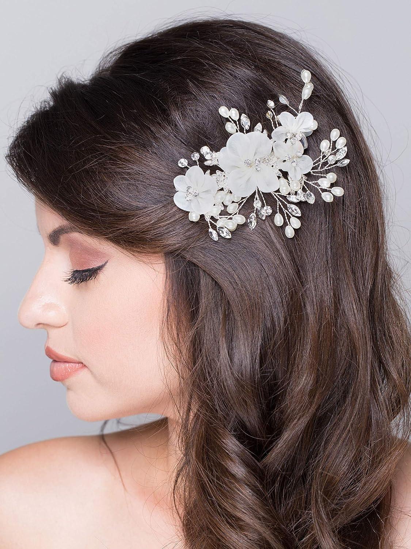 Party Flower Bridal Headpiece Head Clip Crystal Headband Pearl Hair Comb