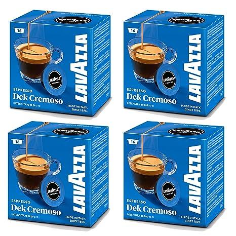 Lavazza A Modo Mio Dek Espresso Cremoso 16 máquina de café Cápsulas (Pack de 4