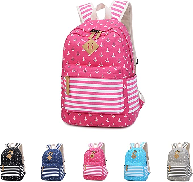 Cotton Canvas School Backpack Casual Daypack Shoulder Bag for Teens Girls Boys 8833 Sky Blue Queenie