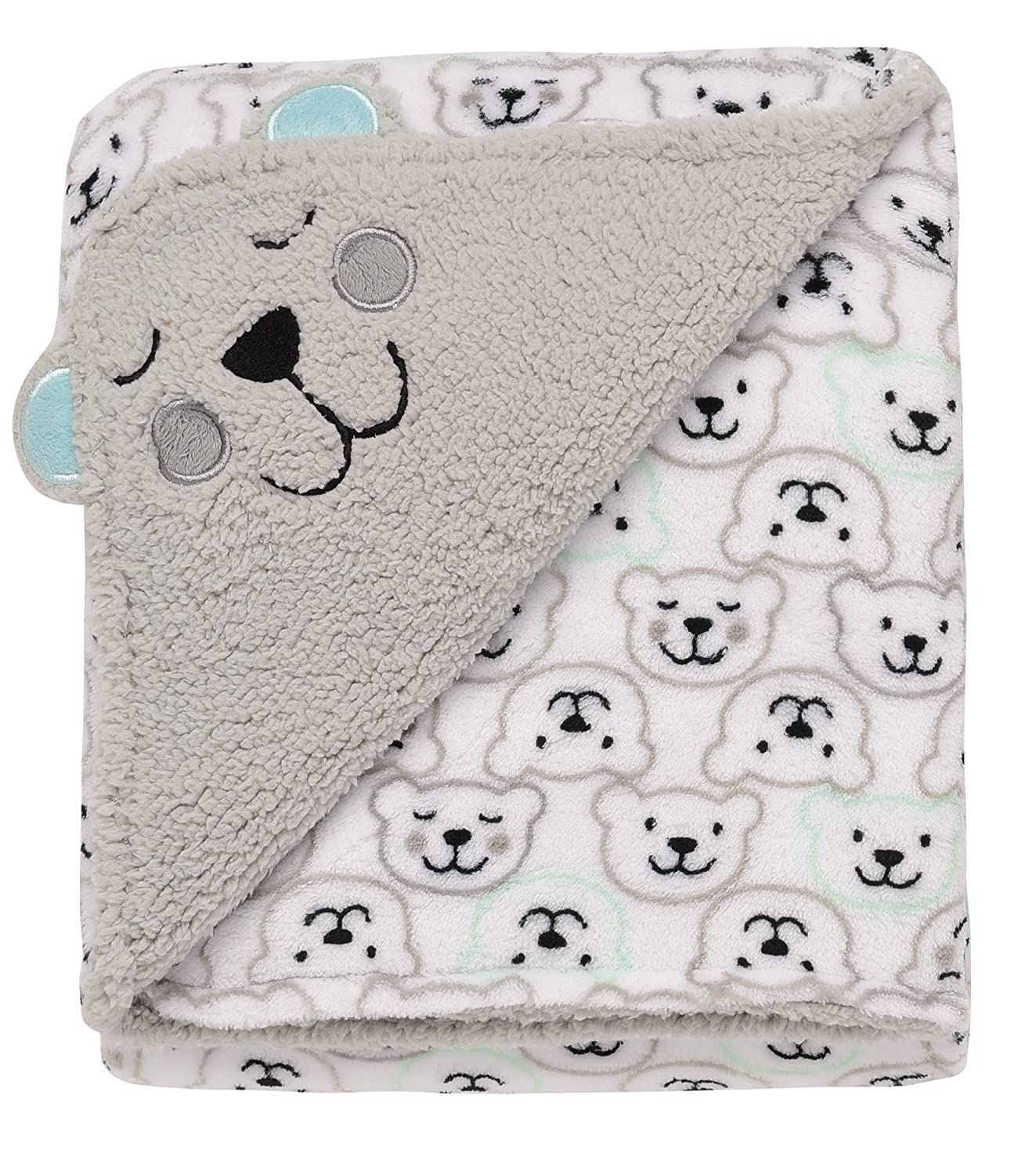 Baby Starters 2-Ply Embroidered Sparkle Blanket with Satin Follow The Stars