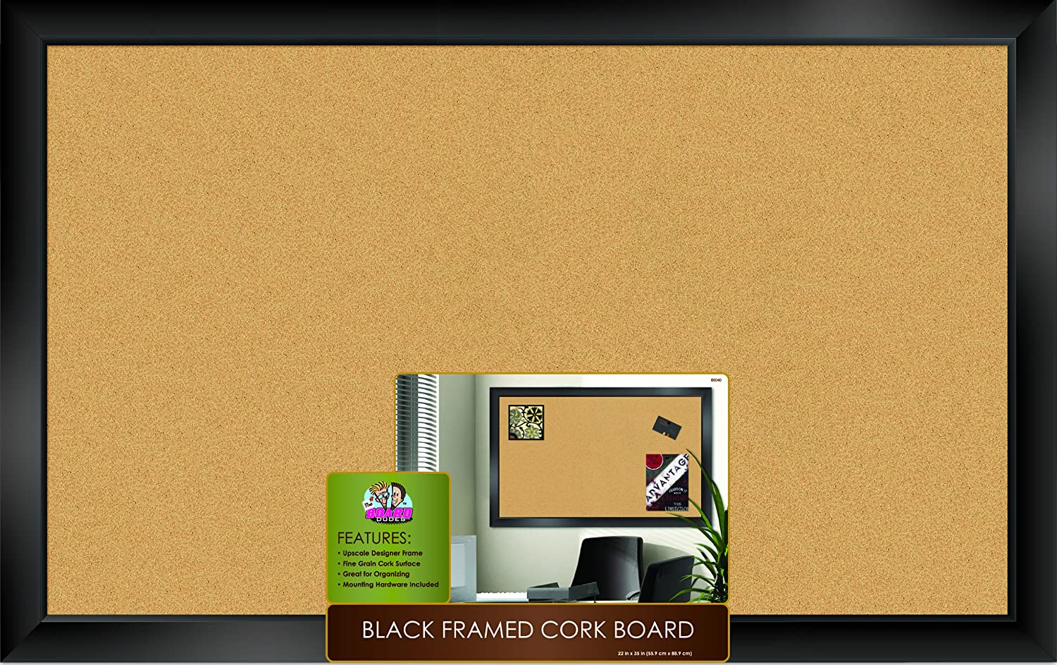 Amazon.com : The Board Dudes Black Framed Cork Board 35\