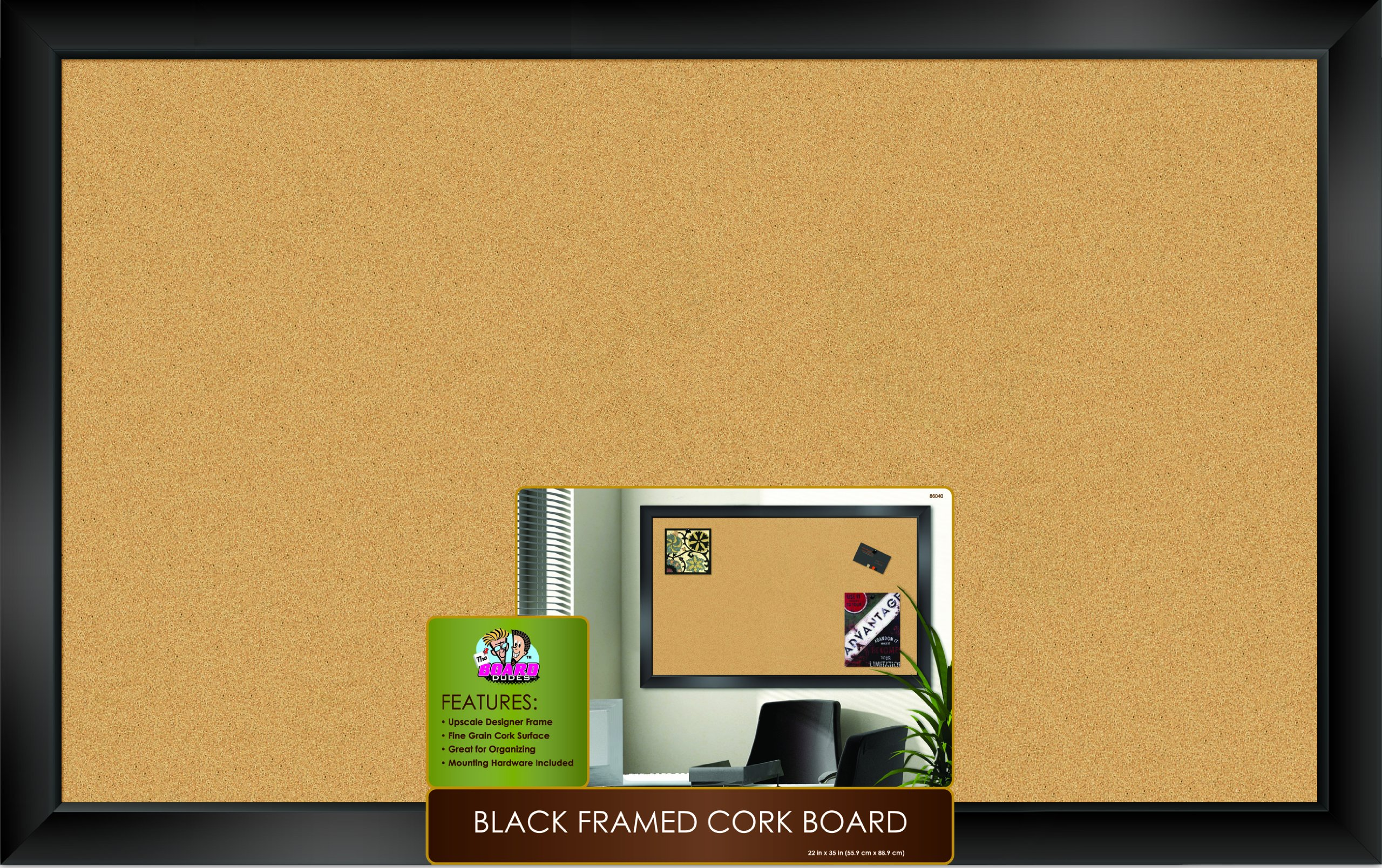 The Board Dudes Black Framed Cork Board 35'' X 22''